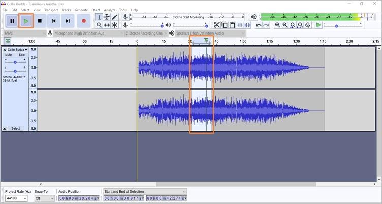 trim sound using audacity