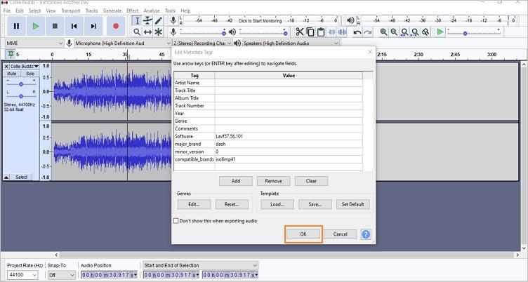 trim audio using audacity