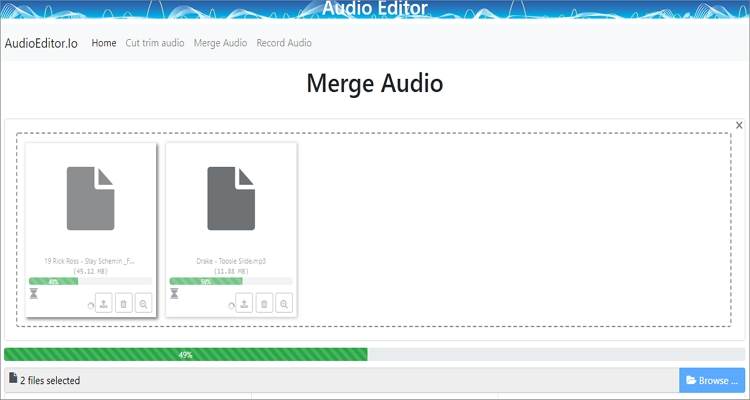 merge mp3 online with audio editor