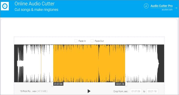 trim wav file with online audio cutter