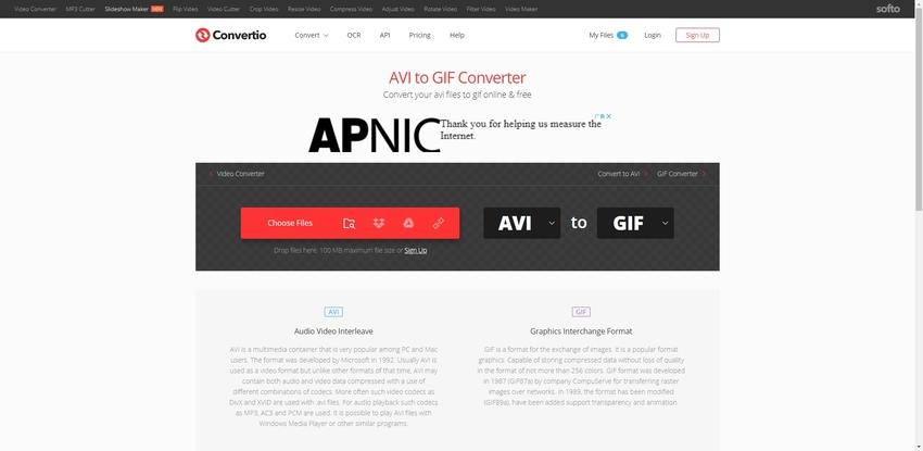Convert AVI to GIF Online-Convertio