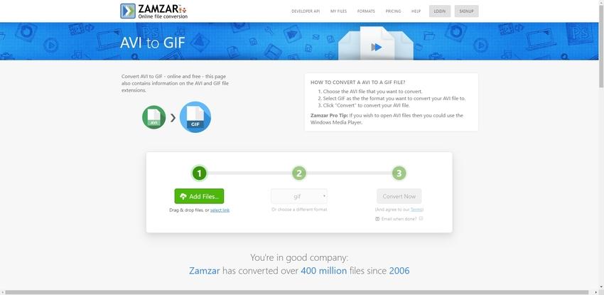 AVI to GIF Converter Online-Zamzar