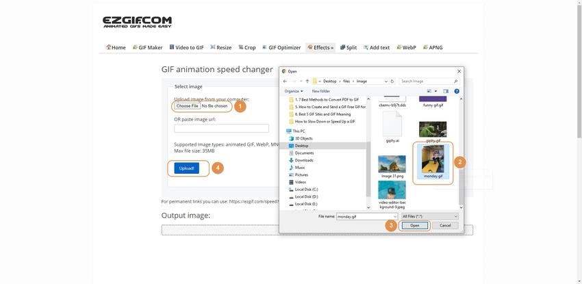 Browse a GIF Image to EZGIF