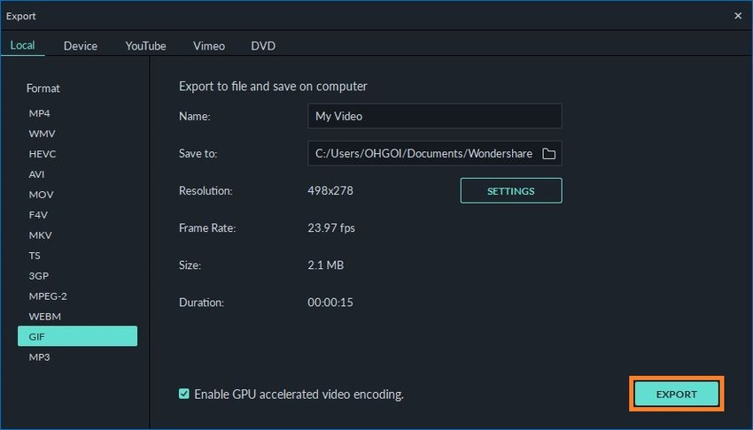Choose GIF as Output Format in Filmora and Save it
