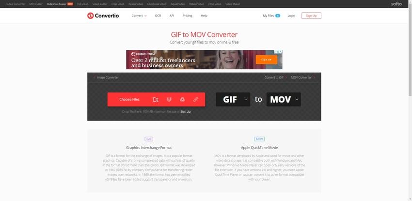 Online GIF to MOV-Convertio