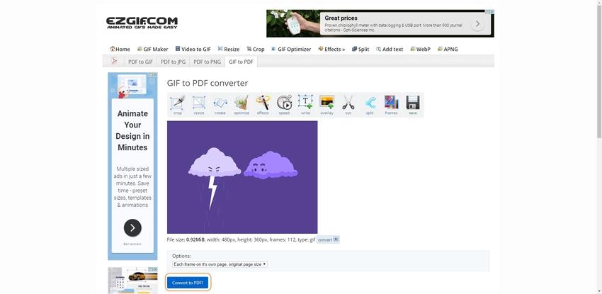 Convert GIF to PDF in EZGIF
