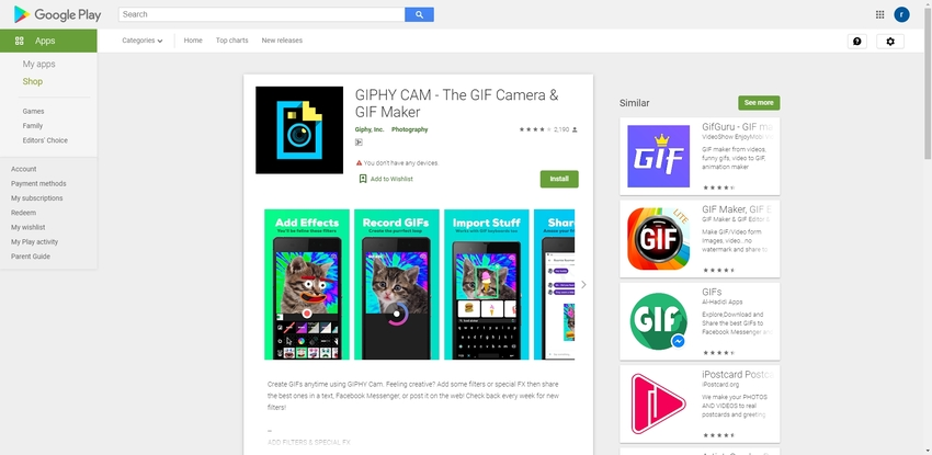 Turn GIF into a Video-Giphy Cam