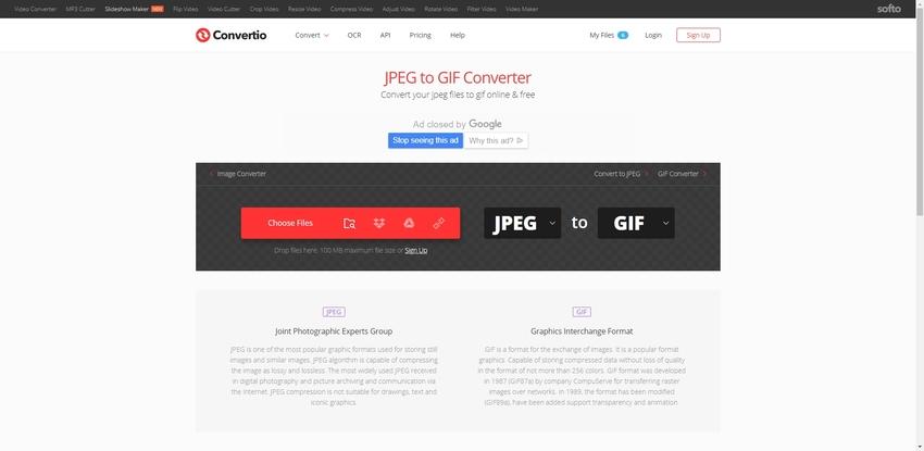 JPEG to GIF Converter-Convertio