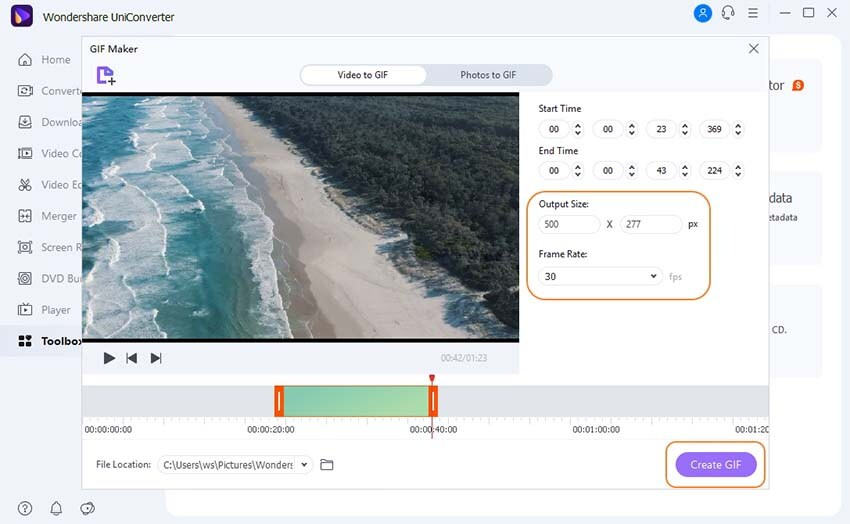 Convert Video to GIF in UniConverter