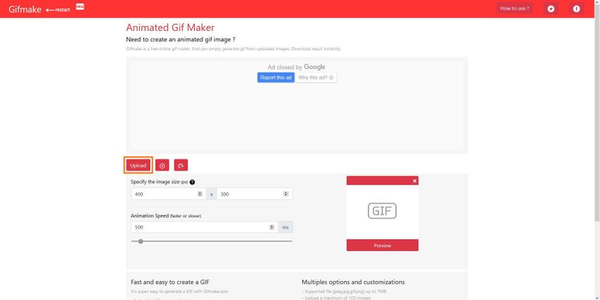 Upload Your GIF File to Gifmake