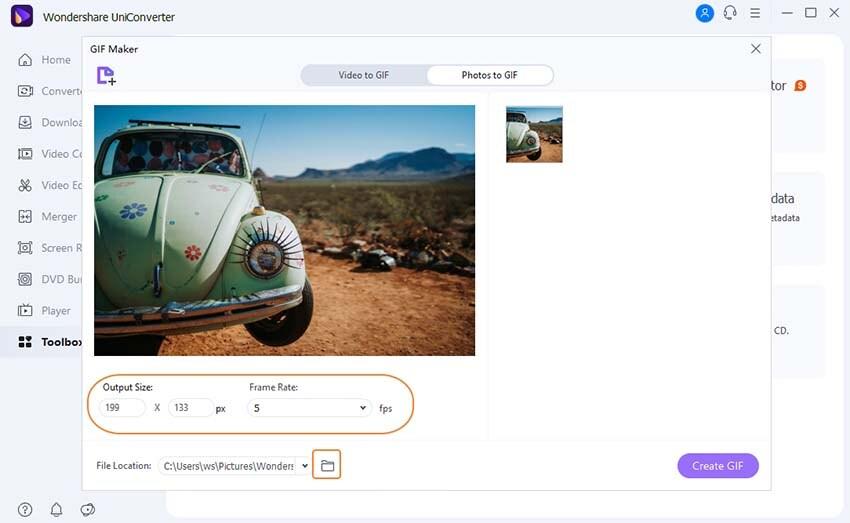 Customize GIF in UniConverter