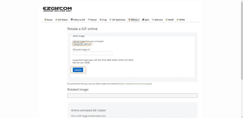 Upload a GIF file to EZGIF