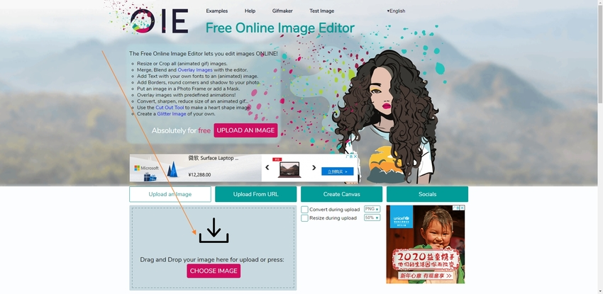 Select a GIF to Online Image Editor