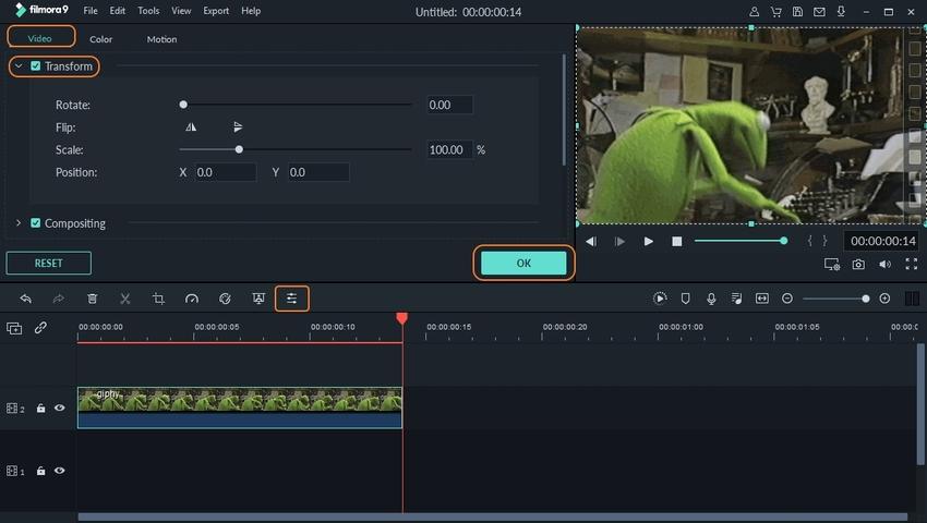 Rotate Animated GIF in Filmora