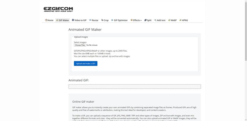 Create GIF Online-EZGIF