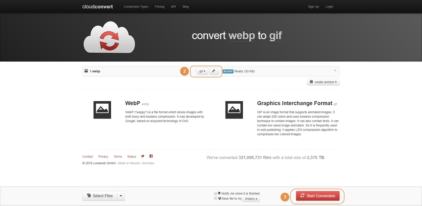 WebM to GIF Conversion-Cloudconvert