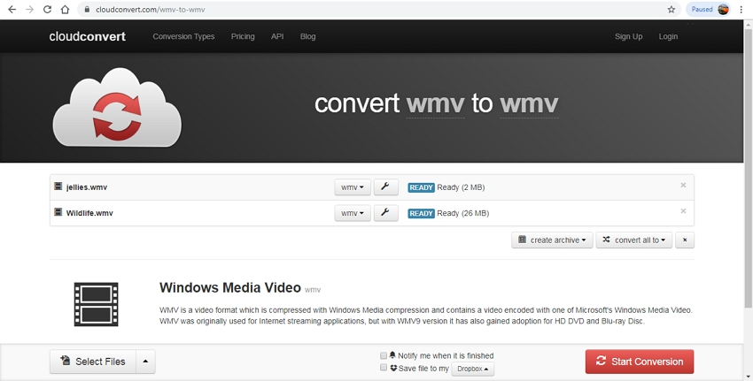 Convert WMV to GIF-Cloud Convert