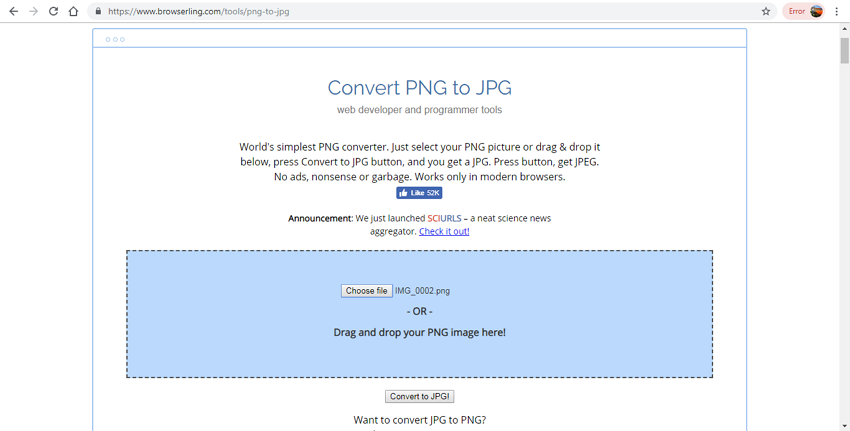 PNG files to JPG format in good quality-Browserling