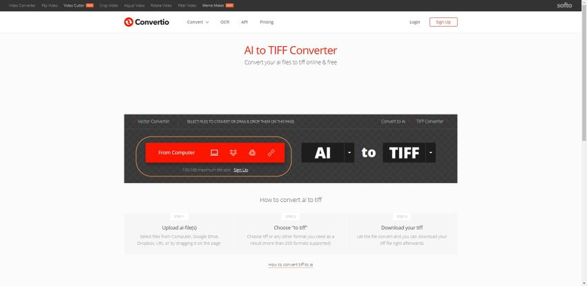 upload AI file to Convertio
