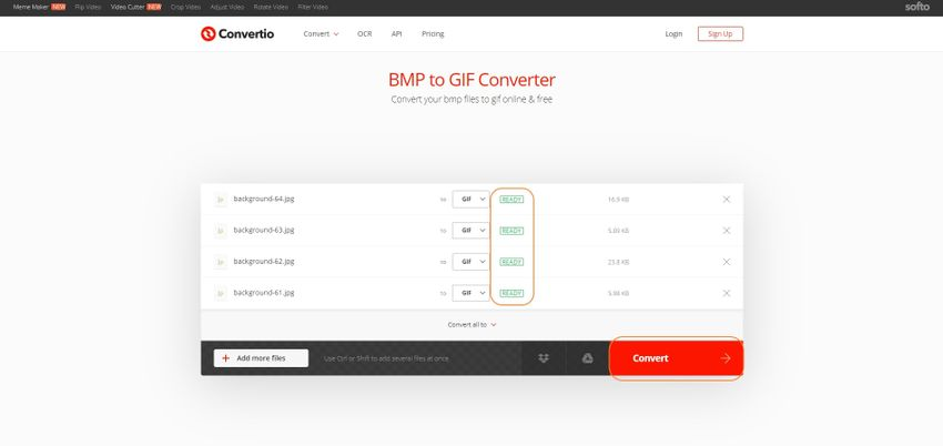 select target format and convert-Convertio