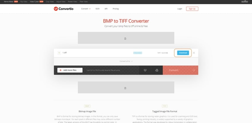 download and save TIFF-Convertio