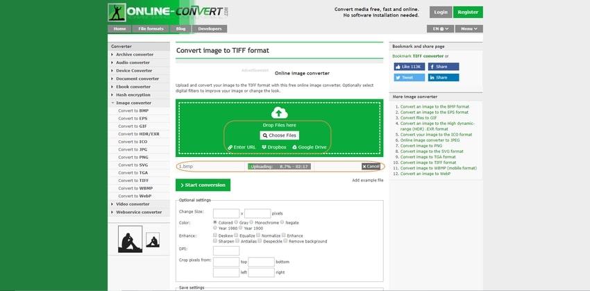 drop then input BMP file-Online Convert