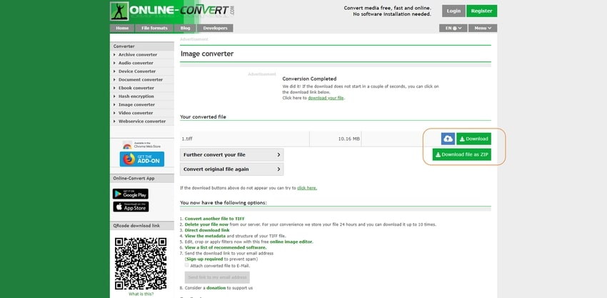 download and save TIFF file-Online Convert