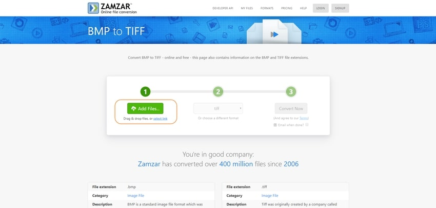 upload BMP file-Zamzar