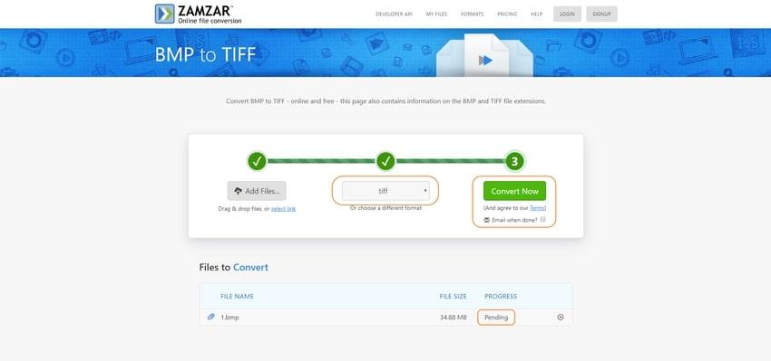convert to TIFF-Zamzar