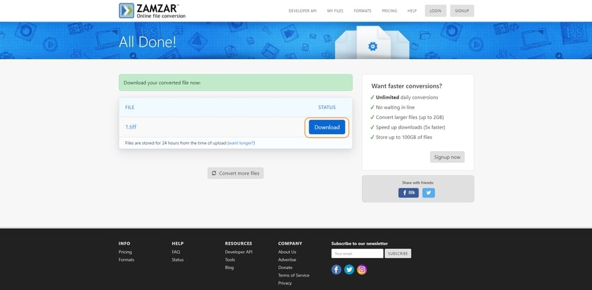 download converted file-zamzar