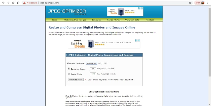 online compress JPG-JPEG Optimizer