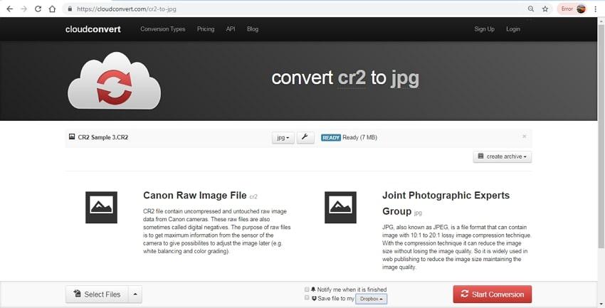 CR2 to JPG conversion-cloud convert