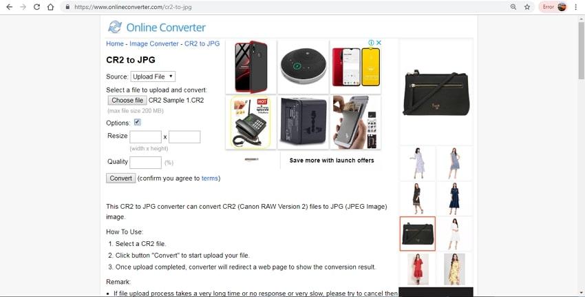 CR2 files to JPG-online converter