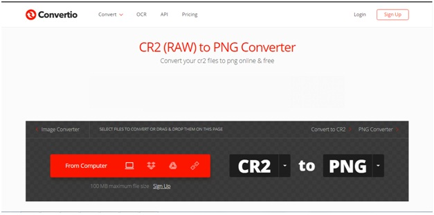 CR2 file to PNG format-Convertio
