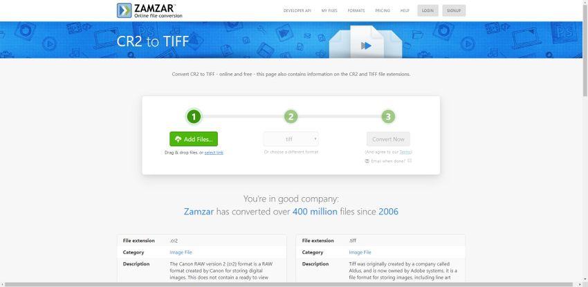 change CR2 to TIFF-Zamzar
