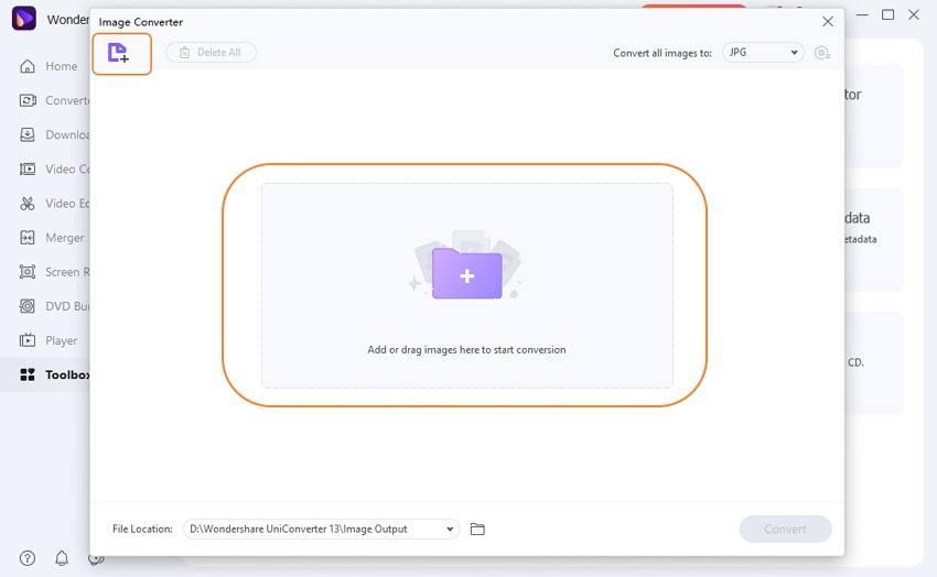 Upload PNG to Image Converter of UniConverter