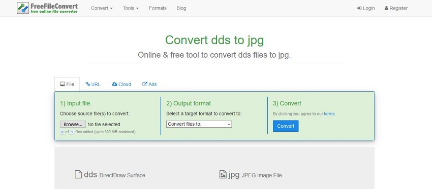 change DDS to JPG-Free File Convert
