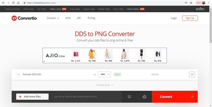 change DDS to PNG file in Convertio