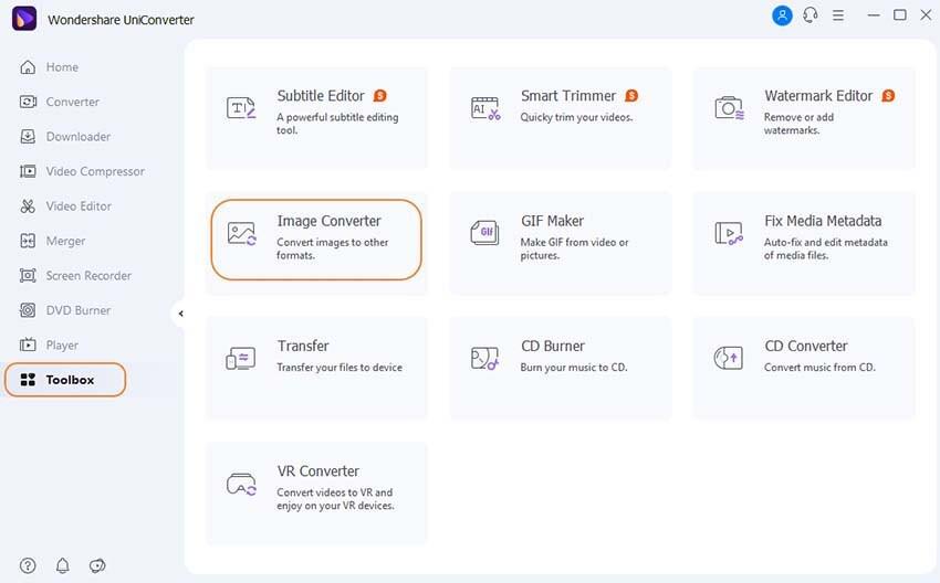 launch UniConvert and select Image Converter option