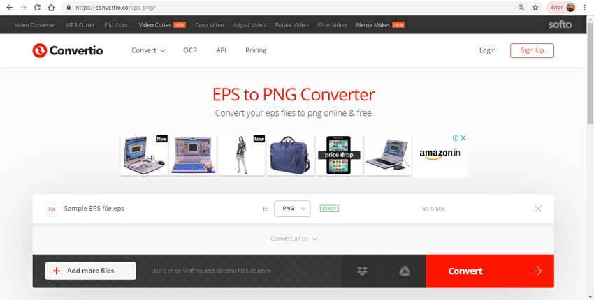 Online converter for EPS to PNG-Convertio