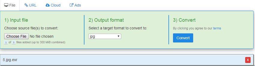 choose JPG output format-FreeFileConvert
