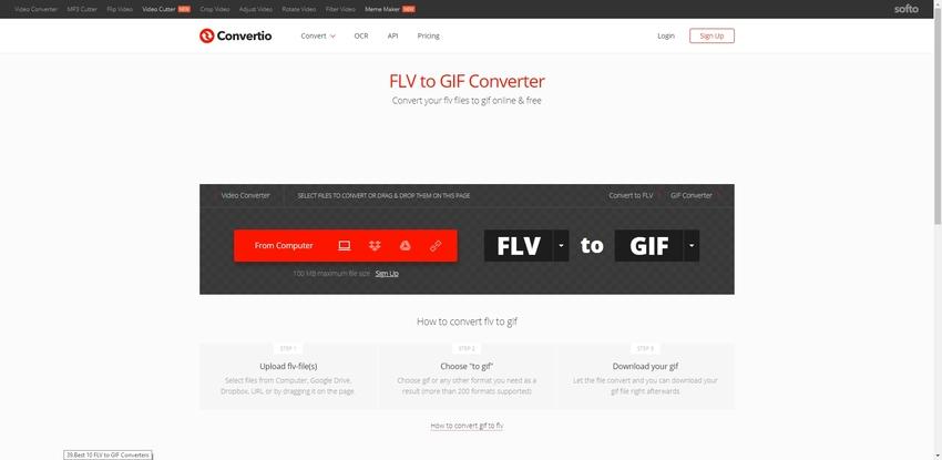 FLV file to a GIF-Convertio
