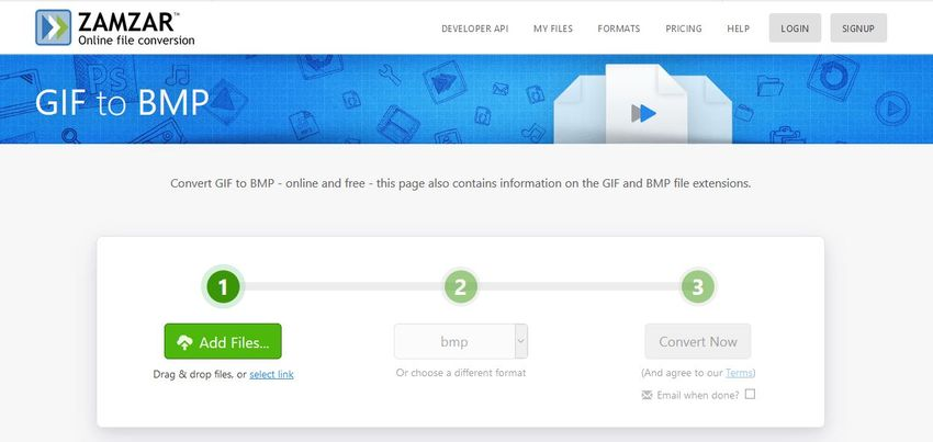 free convert GIF to BMP file-Zamzar