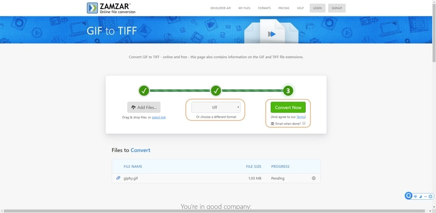 select the TIFF file extension-Zamzar