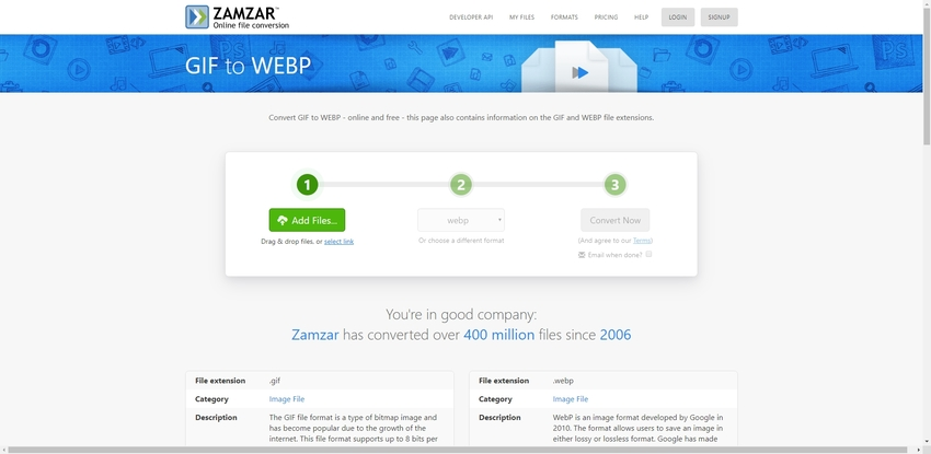 turn GIF file to WebP in Zamzar