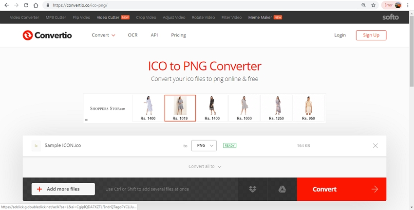 ICO to PNG Conversion in Convertio