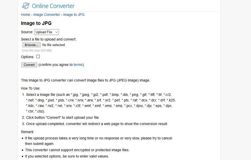image format files to JPG format-Online Converter