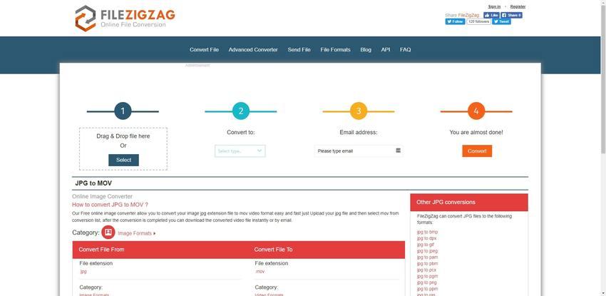 convert JPG to MOV in Filzig-Zag