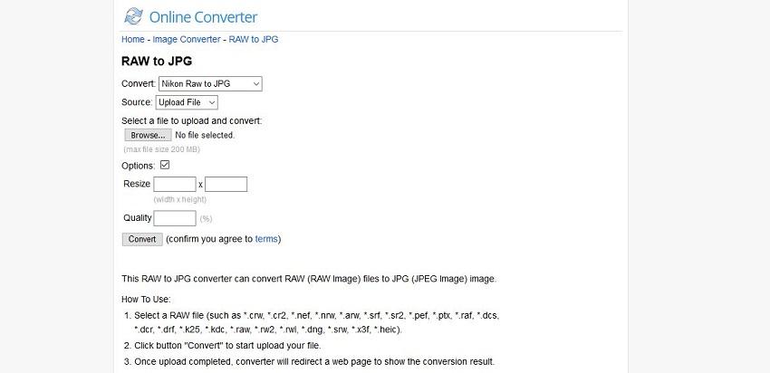 turn JPG to RAW-Online Converter