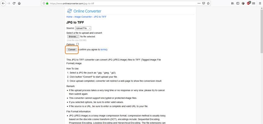 select convert button-Online Converter